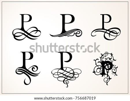 Capital Letter P For Monograms And Logos Beautiful Filigree Font Victorian