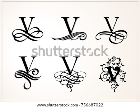 Capital Letter V For Monograms And Logos Beautiful Filigree Font Victorian