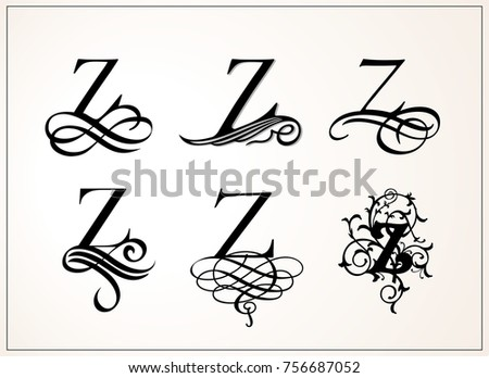 Stock Vector Vintage Set Capital Letter Z For
