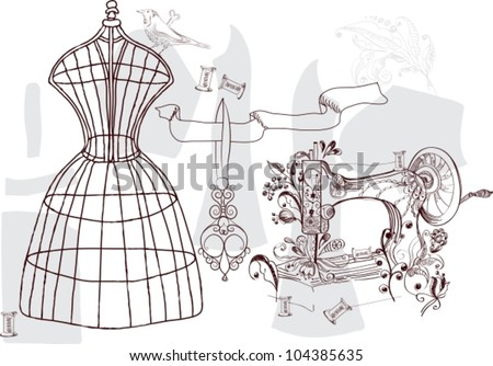 Vintage set - fashion and sewing, vector illustration - stock vector