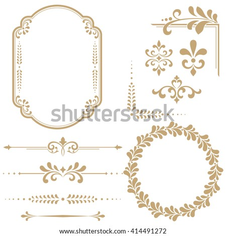 Vintage Set. Floral elements for design monograms, invitations, frames, menus and labels. Graphic design of the website, cafes, boutiques, hotels, wedding invitations. #414491272