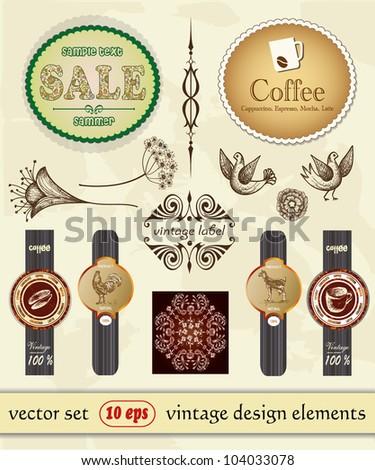 vintage set labels, elements design