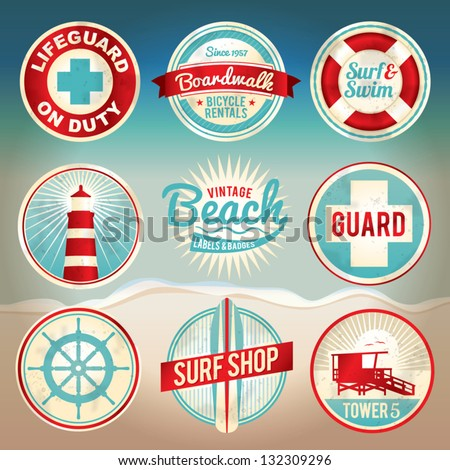 vintage set of beach labels and ...