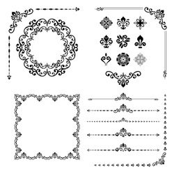 Vintage set of classic elements. Different vector elements for decoration and design frames, cards, menus, backgrounds and monograms. Classic patterns. Set of vintage patterns.