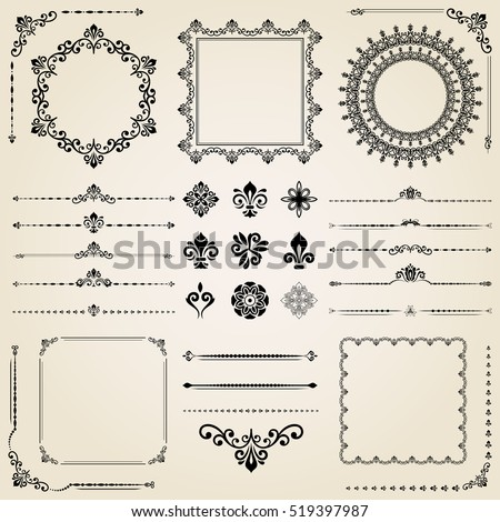 Vintage set of classic elements. Different vector elements for decoration and design frames, cards, menus, backgrounds and monograms. Collection of floral ornaments