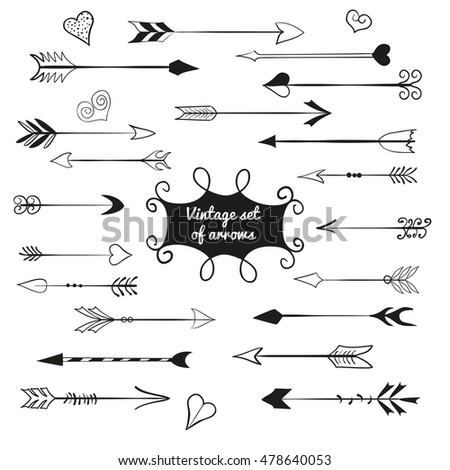 Vintage set of  cute arrows and hearts. #478640053