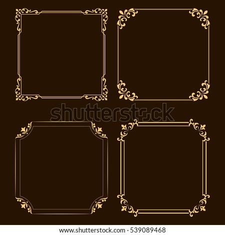 Vintage set of decorative frames. Graphic design in vintage style.