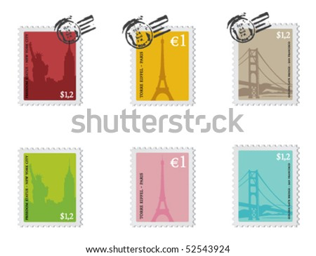 Vintage set of stamps from New York City, Paris and San Francisco. ストックフォト ©