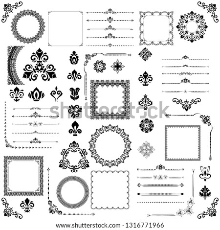Vintage set of vector horizontal, square and round black elements. Different elements for design, frames, cards, menus, backgrounds and monograms. Classic patterns. Set of vintage patterns