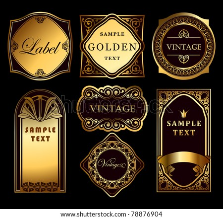 Vintage set ornate gold labels.