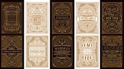 Vintage set retro cards. Template greeting card wedding invitation. Line gold calligraphic frames. Floral engraving design golden labels. Advertising place for text. Flourishes frame background