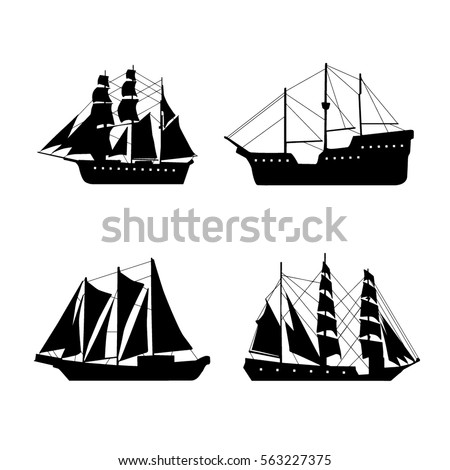 vintage set with ships vector