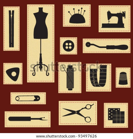 Vintage sewing and tailoring icons set