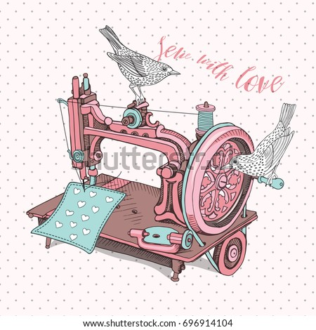 vintage sewing machine with a...