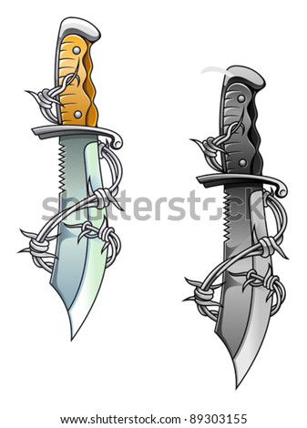 Vintage sharp dagger with barbed wire for tattoo design, such a logo. Jpeg version also available in gallery