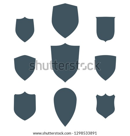 Vintage shields set isolated. Vector design shapes