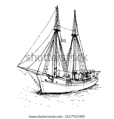 Vintage ship, boat in the sea. Hand drawn line art sketch. Black and white doodle vector illustration, design for coloring book page Imagine de stoc ©
