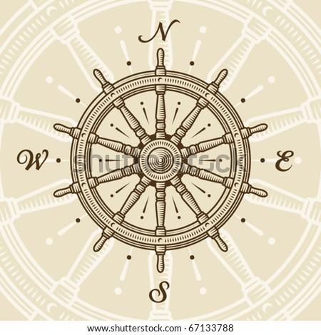 Vintage ship wheel. Vector