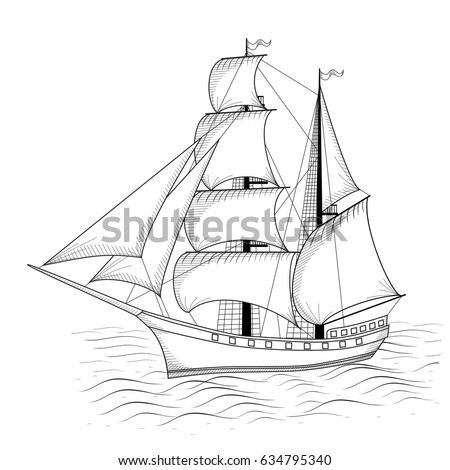vintage ship with sails and sea