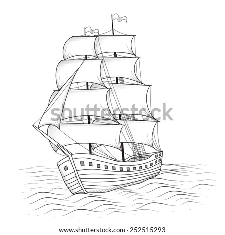 vintage ship with sails and the