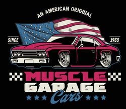 vintage shirt design of american muscle car