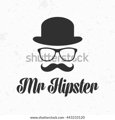 Vintage silhouette of bowler, mustaches, glasses. Vector illustration of gentleman or hipster. Retro gentleman icon. Vector art. Logo template of gentleman Club.