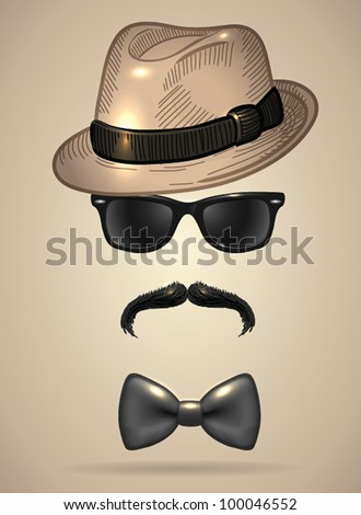 Vintage silhouette of fedora hat, mustaches, sunglasses and a bow tie 2- vector illustration. Shadow and background are on separate layers. Easy editing. - stock vector
