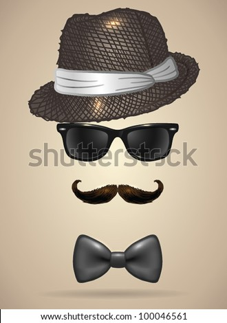 Vintage silhouette of fedora hat, mustaches, sunglasses and a bow tie 3 - vector illustration. Shadow and background are on separate layers. Easy editing.