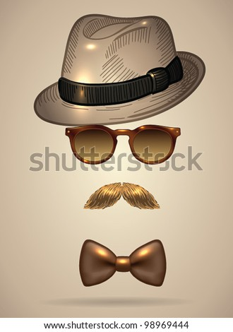 Vintage silhouette of fedora hat, mustaches, sunglasses and a bow tie- vector illustration. Shadow and background are on separate layers. Easy editing.