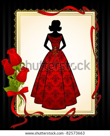Vintage silhouette of girl on tapestry background with roses. Vector
