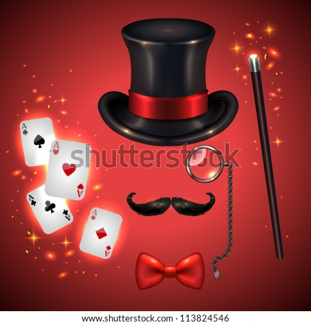 Vintage silhouette of top hat, mustaches, monocle, bow tie, wand and playing cards(magician kit)- vector illustration.