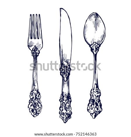 vintage silver knives, forks, and spoons used for eating or serving food, cutlery kitchen stuff tableware hand drawn sketch isolated on white background menu vector illustration