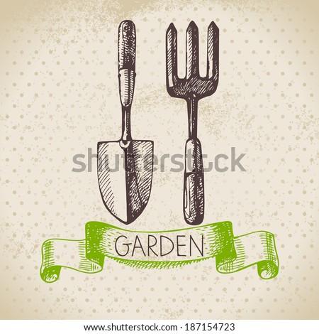 vintage sketch gardening...