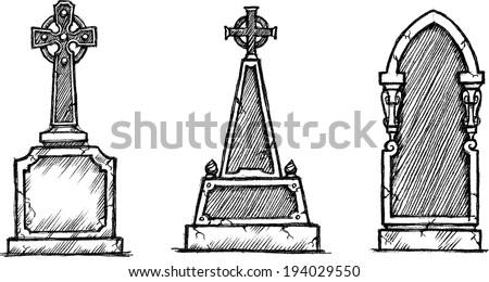 vintage sketch tombstone set