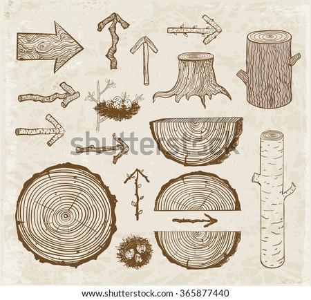 vintage sketches of wood cuts ...