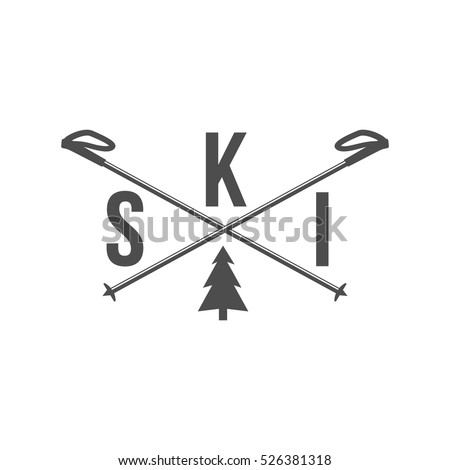 Vintage ski and arctic expeditions logotype, badge, emblem and design elements. Winter sports. Retro logo design.