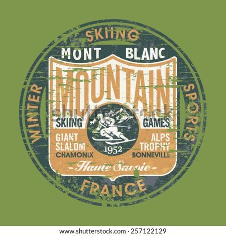vintage skiing badge  vector