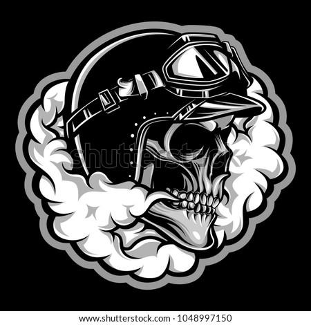 vintage skull biker with smoke