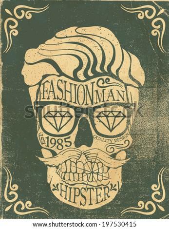 vintage skull label