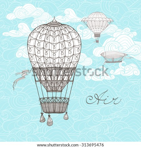 Vintage sky poster with retro hot air balloons on ornamental clouds background sketch vector illustration