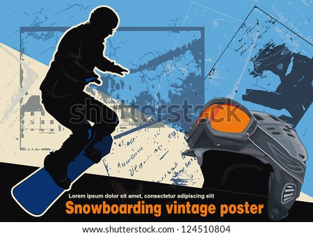 Vintage snowboarding, winter sports vector illustration