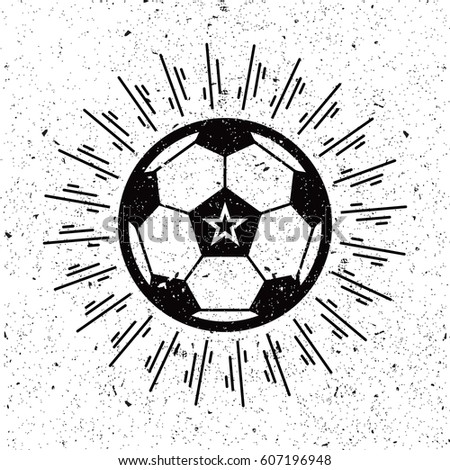 vintage soccer ball with sunburst