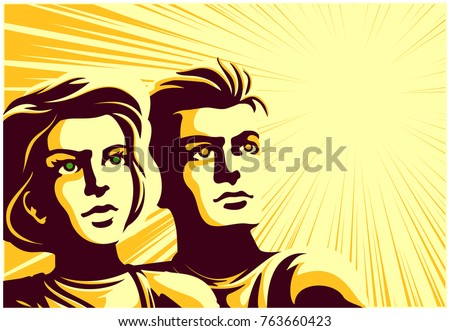 Vintage soviet communist propaganda style couple, man and woman looking into the distance at their bright future with epic dreamy, inspired and hopeful expression vector illustration