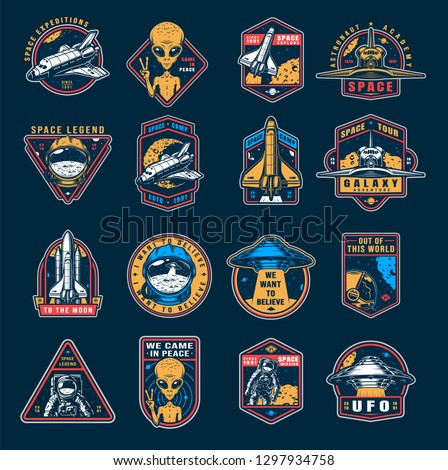VIntage space colorful emblems set with astronaut spaceship shuttle alien showing peace sign cosmonaut helmet ufo vector illustration