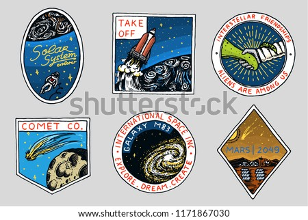 Vintage Space logo. Exploration of the astronomical galaxy. mission astronaut or spaceman. cosmonaut adventure. Planets and satellites badge emblem patch sticker. engraved hand drawn sketch.