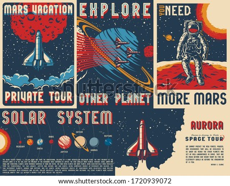 Vintage space posters set with cosmonaut on mars surface solar system and flying shuttles on cosmic backgrounds vector illustration