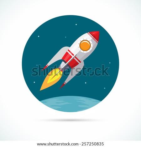 vintage space rocket flying in