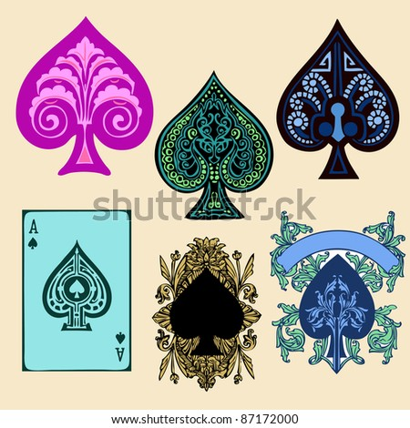 Vintage Spade style poker playing cards, vector