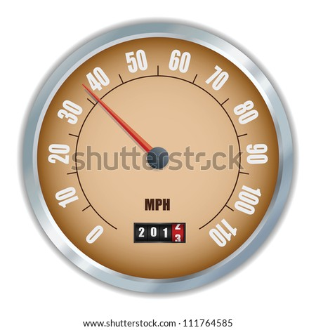 Vintage speedometer with 2013 counter in vector