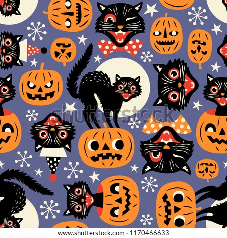 Vintage spooky cats and halloween pumpkins seamless vector pattern on purple background.